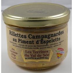 Rillettes campagnardes au piment d'Espelette - bocal de 190g