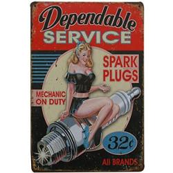 """Plaque Métal """"Dependable Service"""""""