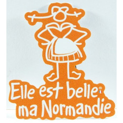 "Magnet ""Elle est belle ma Normandie"" -  orange"