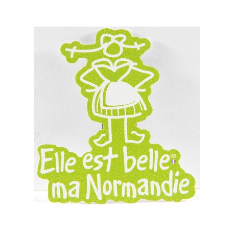 "Magnet ""Elle est belle ma Normandie"" -  vert"