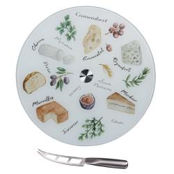 Plateau à fromage tournant avec couteau