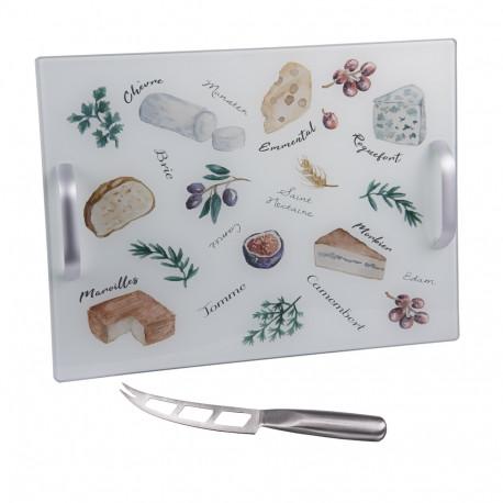 Plateau à fromage anses avec couteau