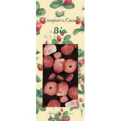 Tablette Chocolat Noir Fraises Bio 90g