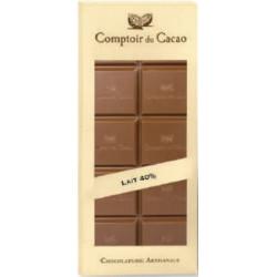 Tablette Chocolat Lait Sans Sucre 40% - 80g