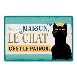 """Plaque Métal """"Le Chat C'est le Patron"""""""