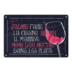 """Plaque Métal """"Cuisine au Vin"""""""
