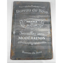 "Plaque Métal ""Bureau du Boss"""