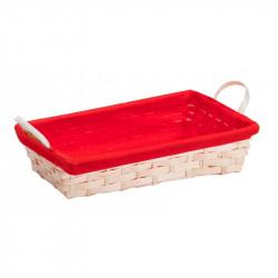 Corbeille Bambou Rectangle/ Tissu Rouge
