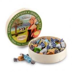 """Caramels Assortiment Normandie - Boîte bois """"Camembert"""" de 150g"""