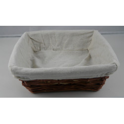 Corbeille osier carrée avec tissu